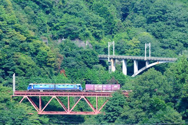 大呼戸橋梁を渡る貨物列車
