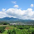 茅が岳をバックに走る中央線211系普通電車