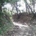 Photos: 末森城本丸跡までの登城路は高土塁状の壁が左右を囲む。遺構なのかど...