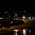 春の夜、天竜川河畔にて。