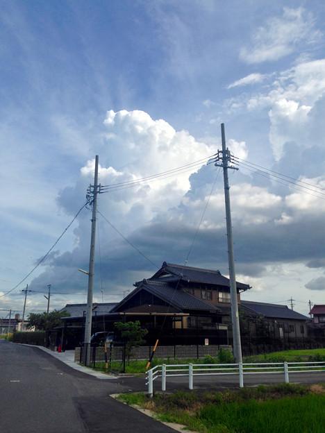 電信柱越しに見た、夏らしい入道雲 - 1
