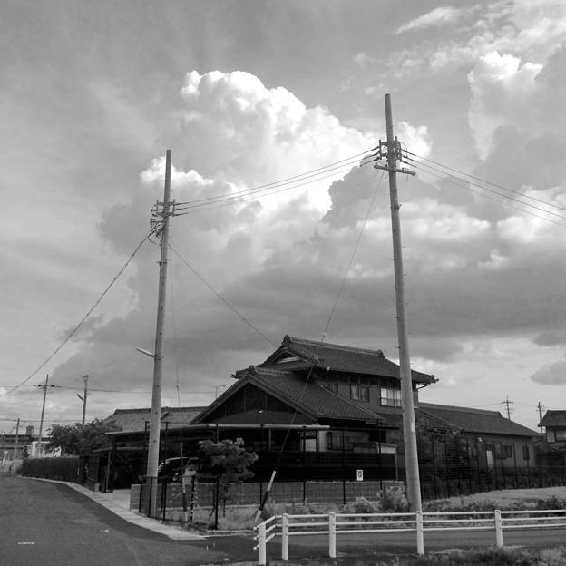 電信柱越しに見た、夏らしい入道雲 - 3:モノクロ