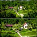 照片: 愛・地球博記念公園:「サツキとメイの家」 No - 34(展望塔から見下ろした建物、ミニチュアライズ)