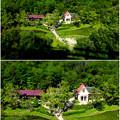 照片: 愛・地球博記念公園:「サツキとメイの家」 No - 35(展望塔から見下ろした建物、ミニチュアライズ)