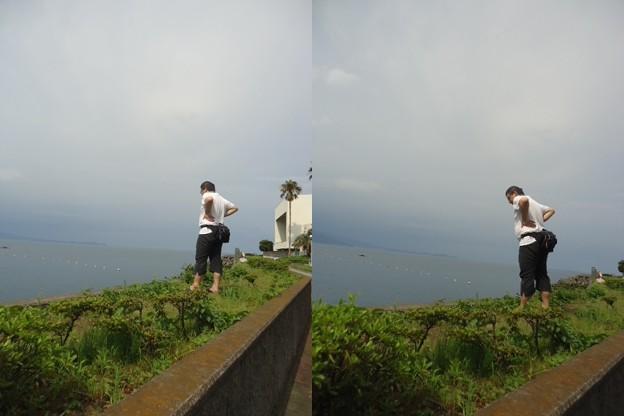 写真: 海と男