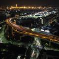 写真: 高速道路夜景