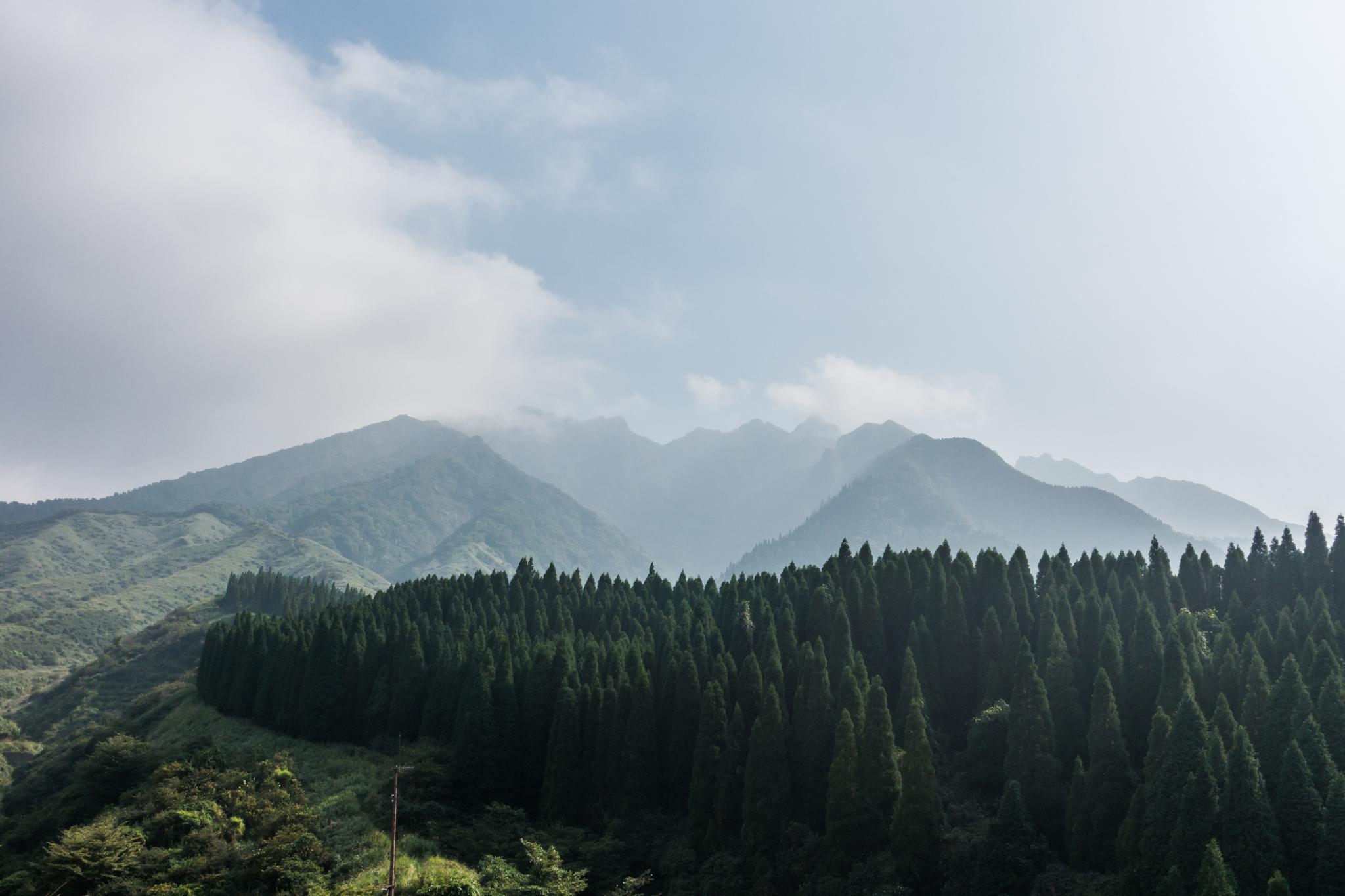 雲に隠れる根子岳