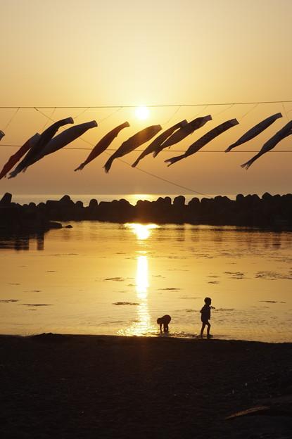 夕陽に遊ぶ子供たち