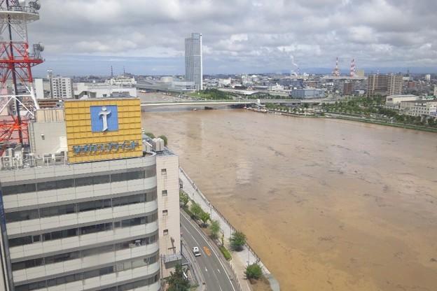 写真: 水害で水が茶色い信濃川と柳都大橋