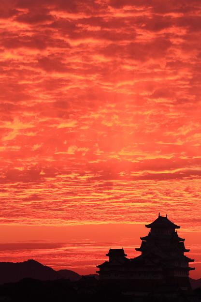 姫路城の朝焼け