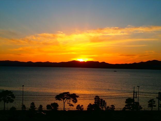 宍道湖の日没
