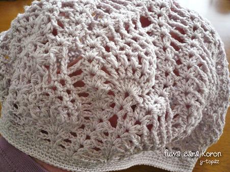 パイナップル編みで春のベレー 3