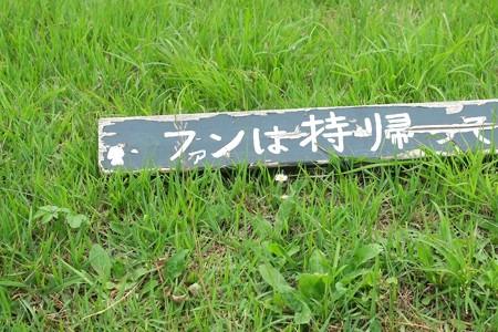 2015.06.17 和泉川 手作り看板 悪戯