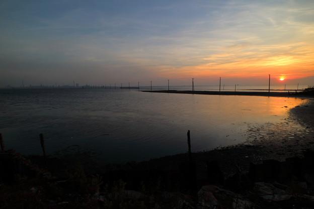 海中電柱・夕景