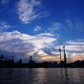 工場の夕空
