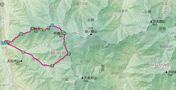 松手山~平標山 地図s