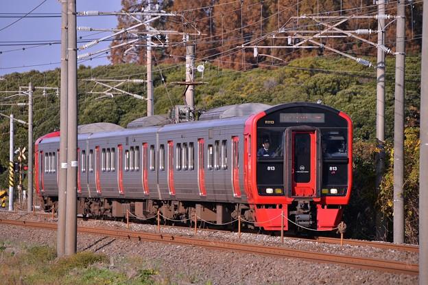 朝の築城駅へ向かう日豊本線813系1100番台・・20141130