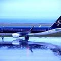 写真: 雨降る北九州空港・・スターフライヤーA320出発・・20141130