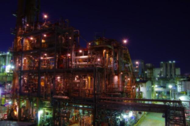 休まぬ夜のパイプ工場の工場夜景・・20141227