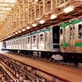 週明けの車両点検を待つ電車たち。。8月22日