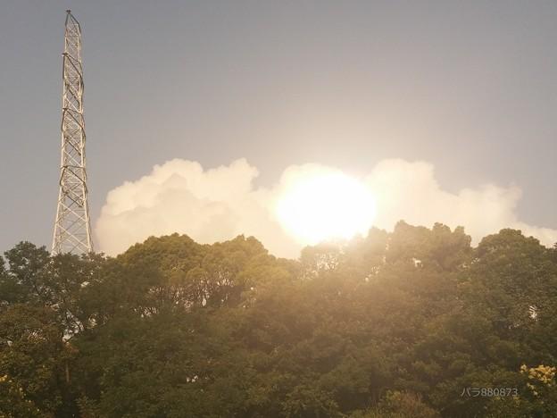 積雲の後ろに太陽か