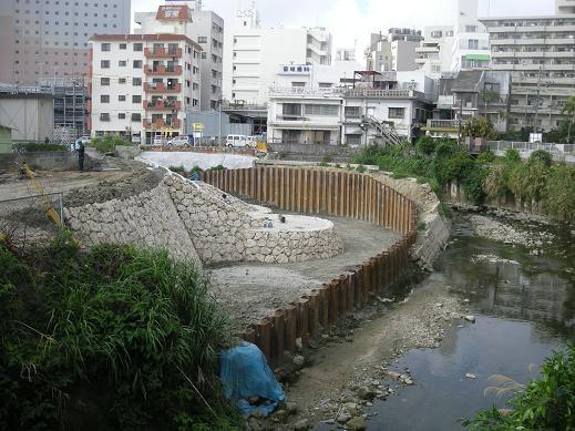 3月21日の安里川ゆたか橋付近ショートカット工事